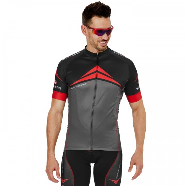 BOBTEAM PERFORMANCE LINE Short Sleeve Jersey grey - black - red - multicoloured For Men