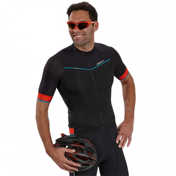 CRAFT Tech Aero Short Sleeve Jersey, black-orange For Men