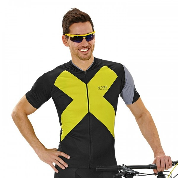 GORE Element X-Road Short Sleeve Jersey black-yellow For Men