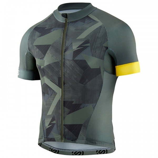 SKINS Classic Short Sleeve Jersey grey - yellow For Men