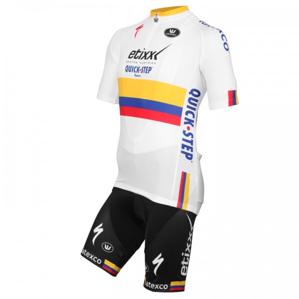 2015-2016 ETIXX-QUICKSTEP Colombian Time Trial Champion Set (2 pieces) - Professional Cycling Team